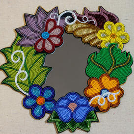 Floral Beaded Mirror