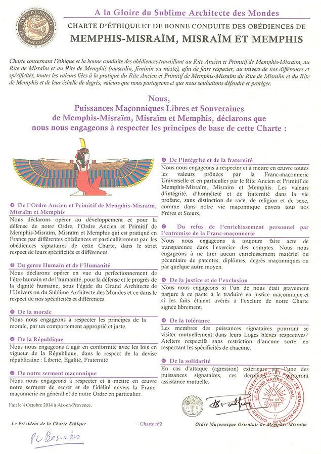 Charte Ethique de Bonne Conduite de Memphis-Misraïm
