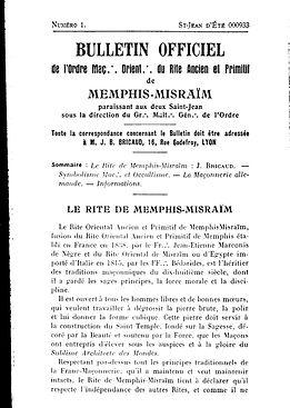 Bulletin Officiel de l'Ordre Maçonnique Oriental de Memphis-Misraïm de Jean Bricaud à Lyon