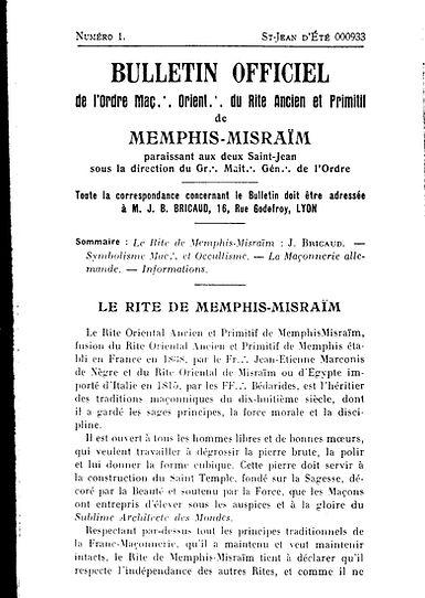 Bulletin officiel de l'Ordre Maçonnique Oriental du Rite Ancien et Primitif de Memphis-Misraïm