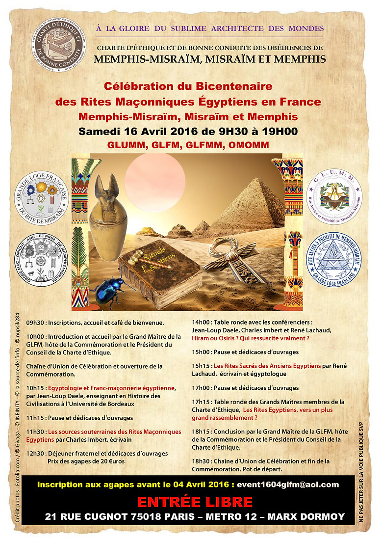 Céélbration du Bicentenaire des Rites Maçonniques Egyptiens en France