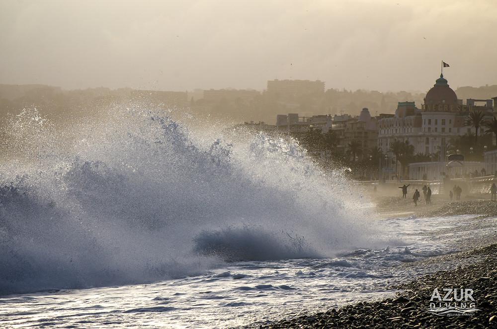 Crashing waves in Nice, France