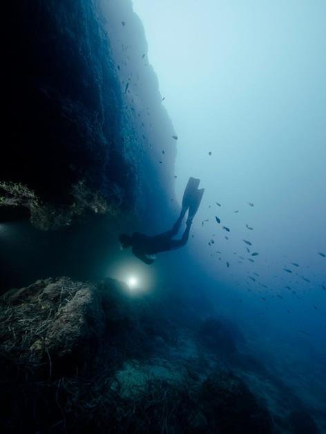 Freediving cave exploration