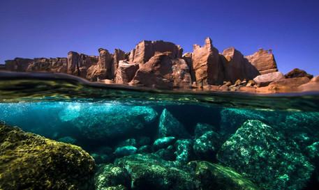 Over-under Sardinian landscape