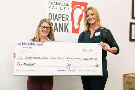 MassMutual donation to JLCV Diaper Bank on behalf of Rebecca Monty