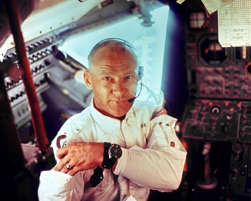 Astronaut Buzz Aldrin in the Apollo 11 Lunar Module