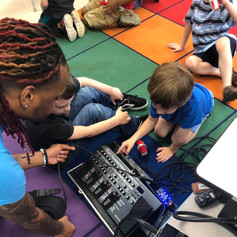 Students at New Prospect Elementary School learning about the pedal board