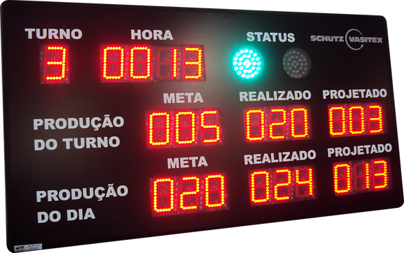 """IND-0252 INDICADOR DE PRODUÇÃO 4"""" POLEGADAS COM RELÓGIO E SINALIZADOR 100 MM"""