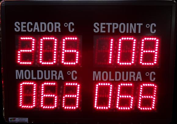 """IND-0501 INDICADOR DE TEMPERATURA 4 MÓDULOS 4"""" POLEGADAS 4-20 MA"""