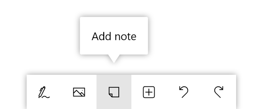 Button for adding a note