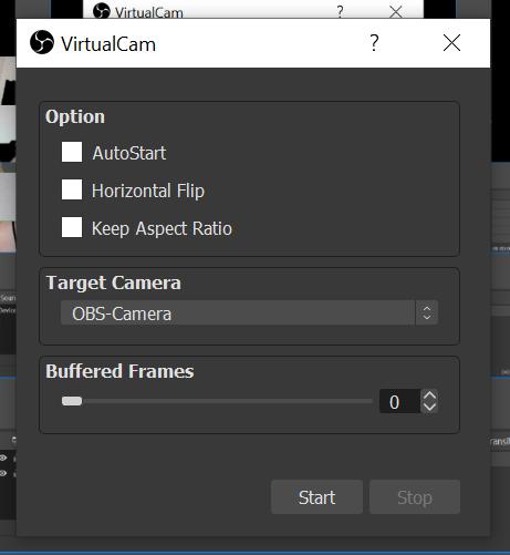 Virtual cam settings
