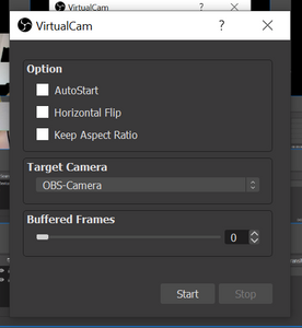 Virtual cam settings