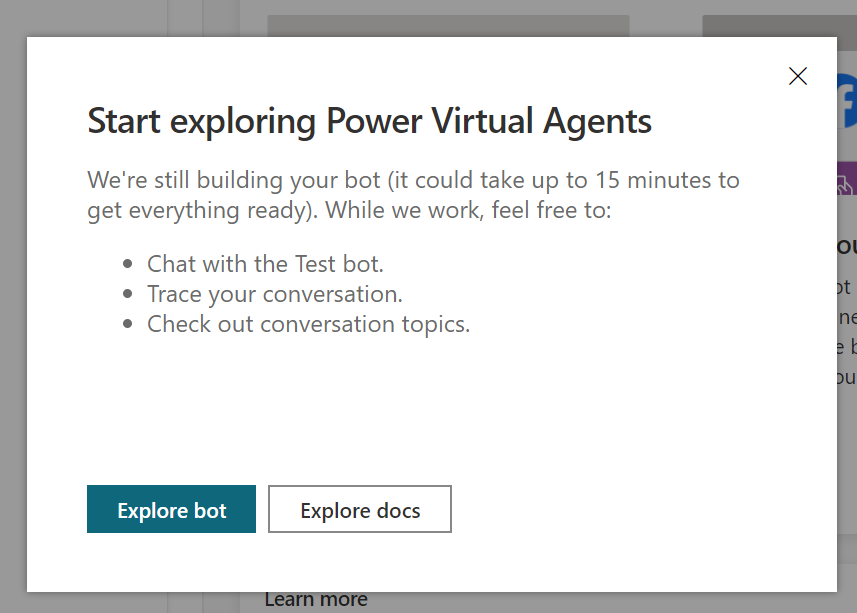 Start exploring Power Virtual Agents