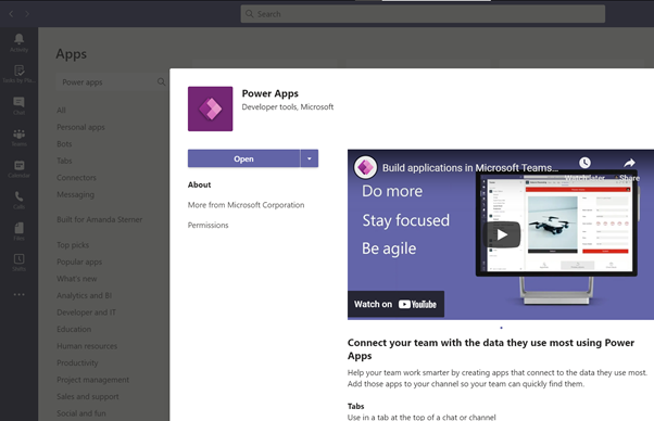 Add Power Apps as app in Microsoft Teams