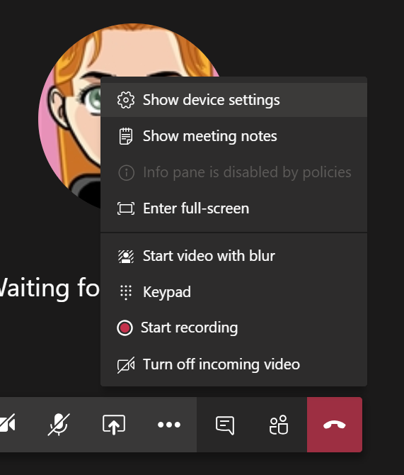 Find device settings during meeting
