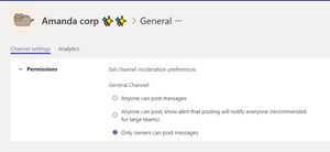 Channel moderation settings