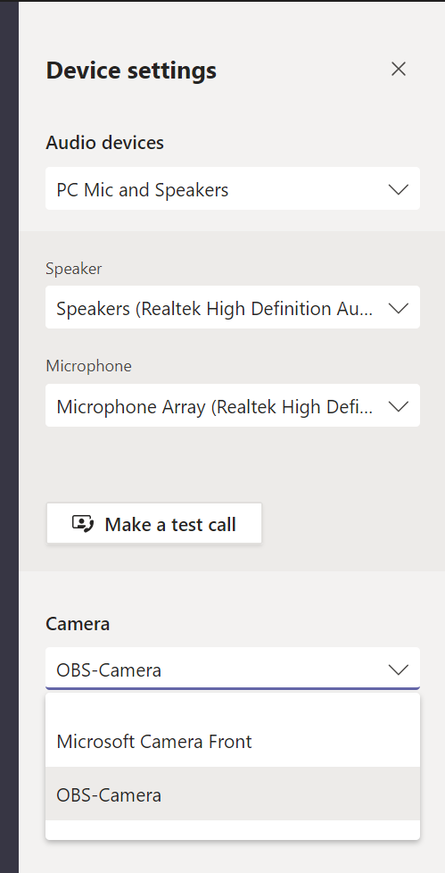 Device settings in Microsoft Teams