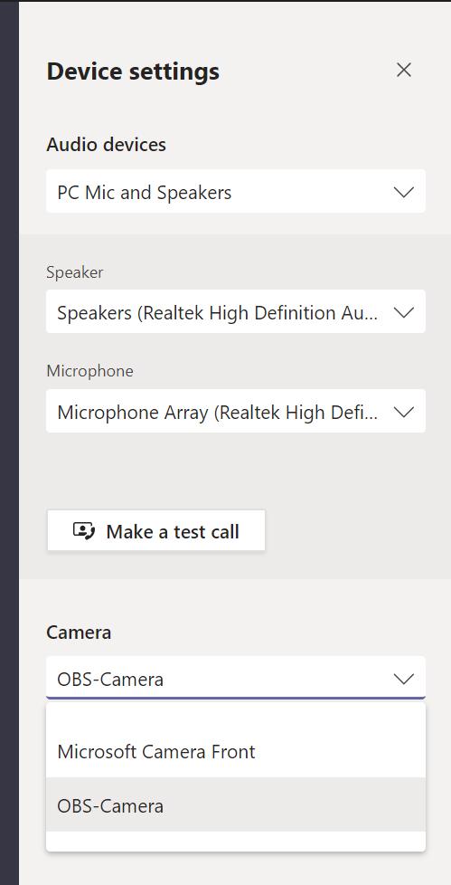 Device settings in Microsoft Teams