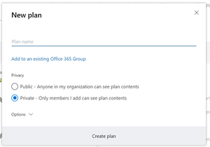 Create new plan from planner hub