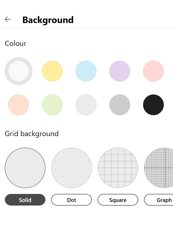 Settings for background colour and grid