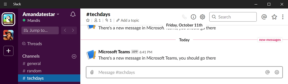 ... will result in a message in Slack