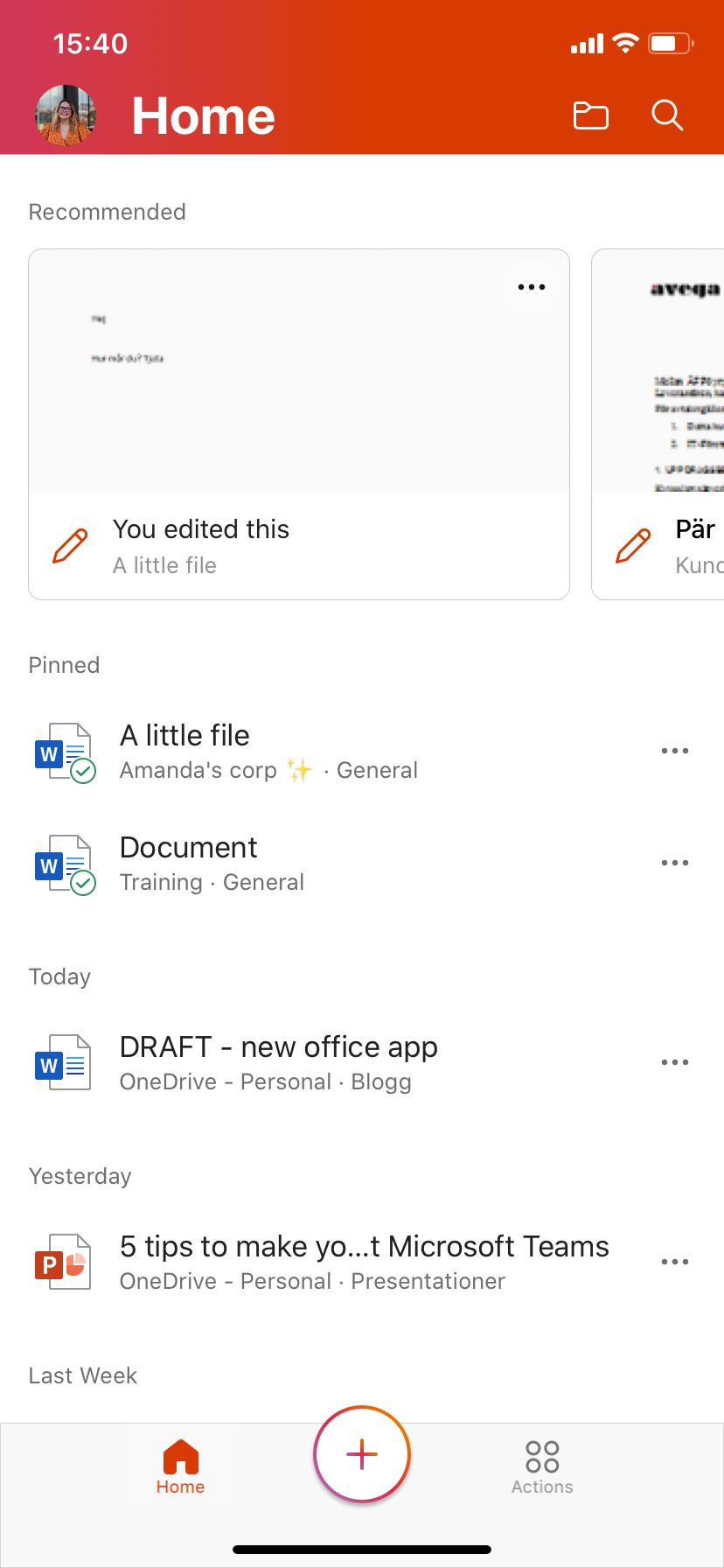 Home screen in Office app