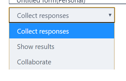 Different options when you add a form as a tab