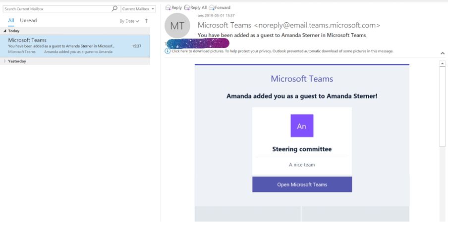The email you recieve when you are added to a team