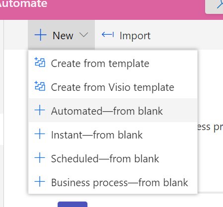 Create a new flow in Power Automate