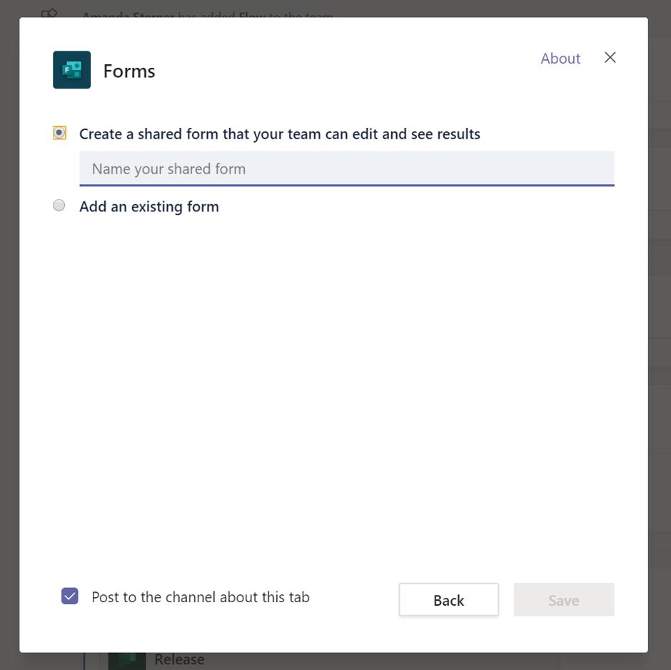 Add a form as a tab