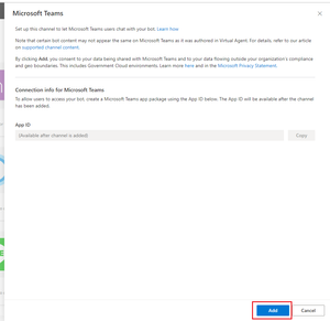Click Add to add Microsoft Teams as a channel