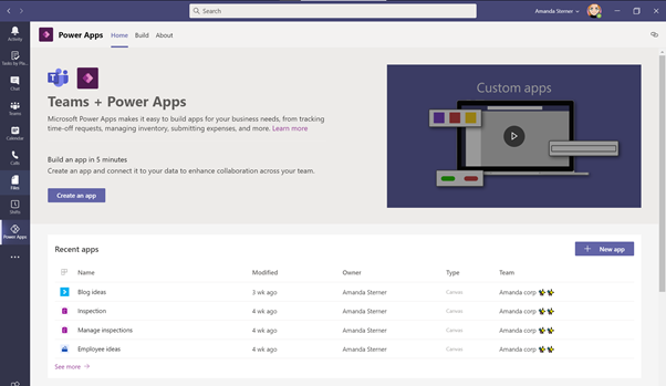 Power Apps in Microsoft Teams