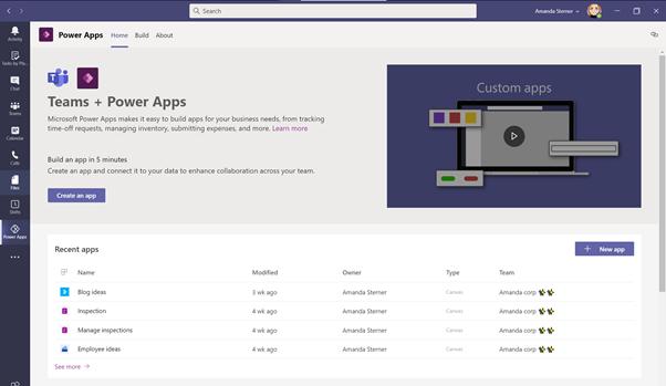 Power Apps in Microsoft Teams