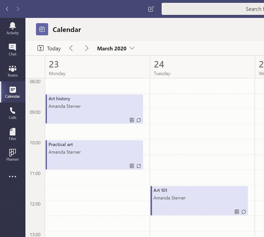 Calendar in Microsoft Teams
