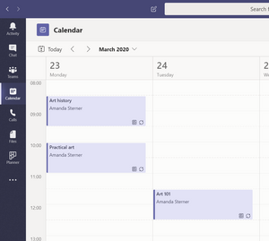 Calendar in Microsoft Teams