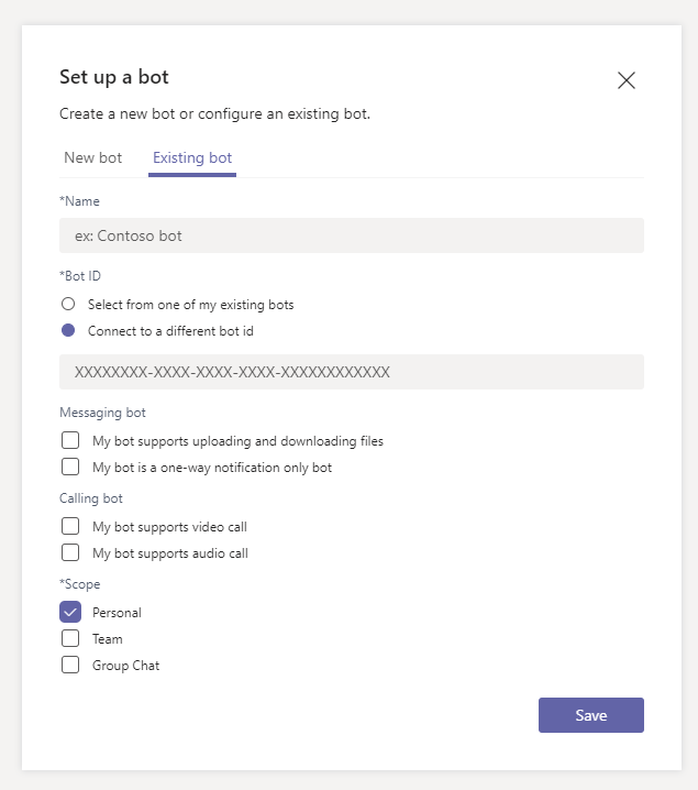 The settings for the bot