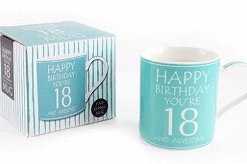 "Awesome You're 18 Boxed Mug.  Fun birthday gift - an attractive fine china coffee/tea mug with ""HAPPY BIRTHDAY YOU'RE 18"