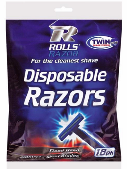 Twin Blade Disposable Razors 18 Pack,Fixed Head, Stainless Steel Blades, Twin Blade System.