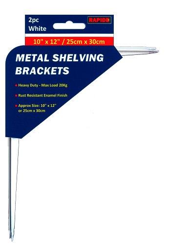 2 White Metal Shelf Brackets 250mm x 300mm