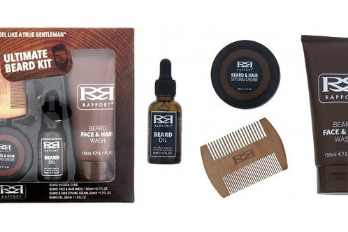 Beard Grooming Kit with wooden beard comb, face and beard wash, beard oil and beard styling cream