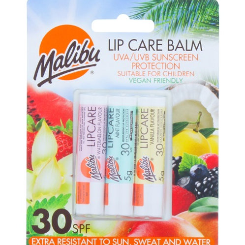 Malibu Lip Balms SPF 30 to keep your lips protected from sun, cold and wind – in 3 scrummy flavours