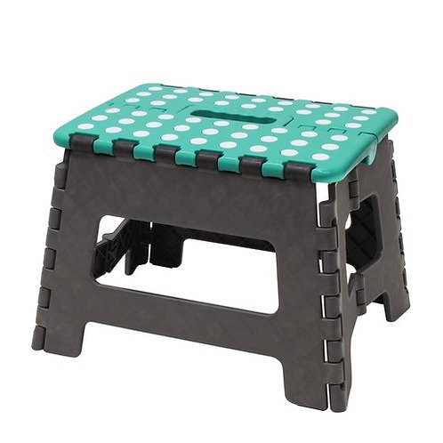 Compact fold for storage. Easy and light to carry. The stool features grip dots for added stability.