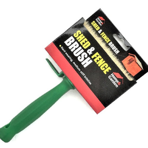 Shed and fence paintbrush suitable for applying creosote, oil and water-based preservative paints