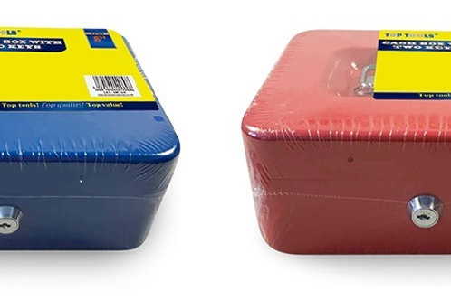 """Cash Box 8"""" includes a lift-out tray with 8 compartments strong metal construction, 2 Keys included"""