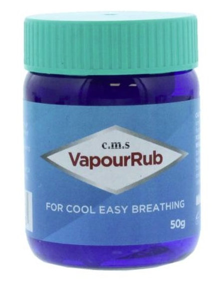 Vapour rub releases menthol vapour when applied to the skin to ease breathing, can be used as an alternative to muscle rub