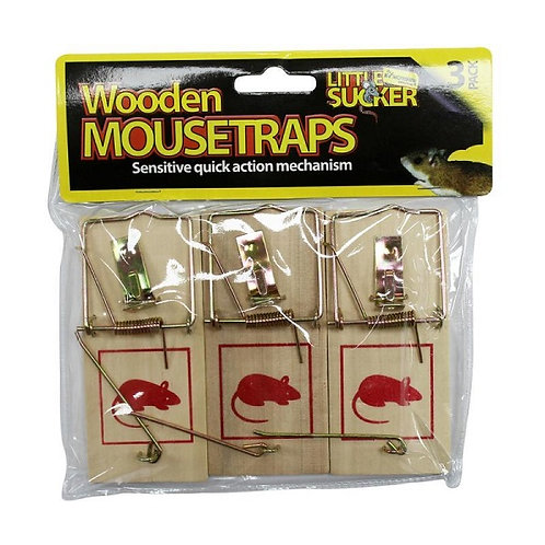 3 Pack Wooden Mouse Traps
