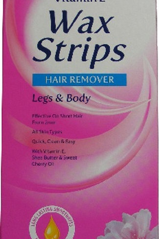 Legs and Body Wax Strips with vitamin E, shea butter and sweet cherry oil, long-lasting smoothness for up to 4 weeks