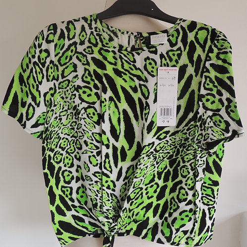 Lime Animal Print Top Front