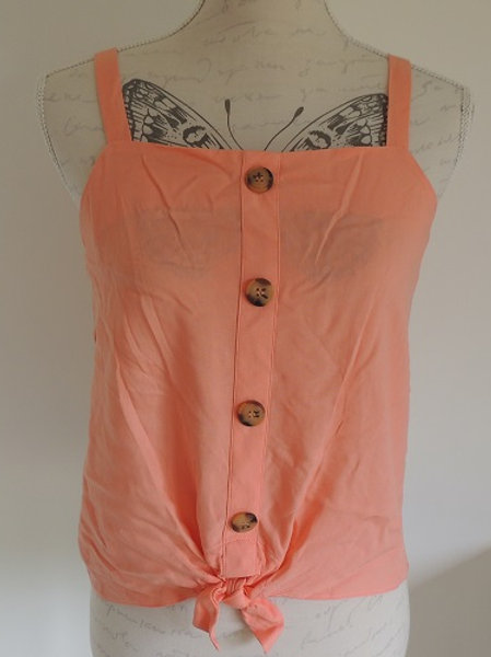 Peach Strappy Summer Top front view