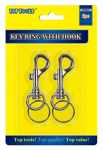 2 x Key Ring With Hook